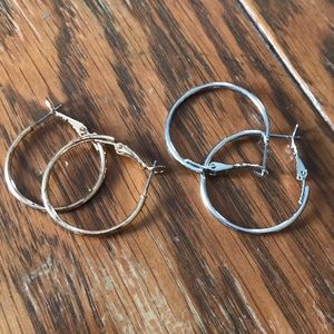 Gold & silver small hoop earring pack